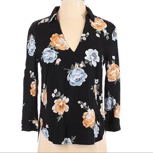 H&M Divided Black and Floral Blouse size 8
